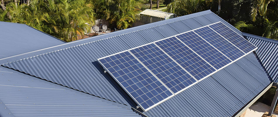 Solar panels on a residencial roof
